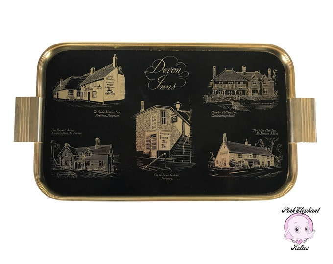 "1950's Black & Gold Cocktail Serving Tray of Devon Inns - Rare 17"" Woodmet Anodized Aluminum British Souvenir Tray - English MCM Bar Trays"