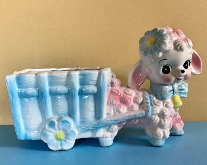 "Vintage 9"" Cute Kitschy Lamb Pulling Wagon Planter Rubens Original - Retro Kitsch Curio Display -MCM Baby Nursery Staging Decor / Photo Prop"