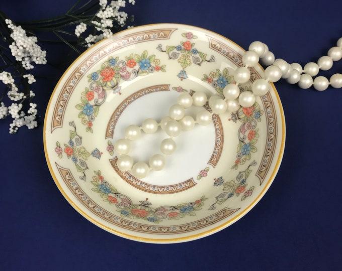 """Aynsley Devonshire Finger Bowl- Fine English Bone China - Ivory & Gold Floral Design - Elegant Tableware - 5"""" Fancy Trinket or Ring Dish"""