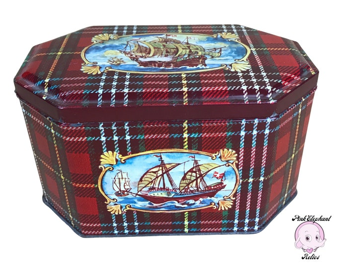 Nautical Vintage Biscuit Tin from West Germany with Sailing Ships & Galleon Art on Red Plaid - Hinged Retro Recipe Box - Old German Tea Tins
