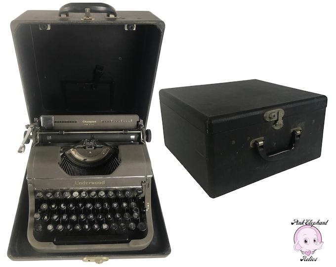 Working 1940's Underwood Champion Typewriter Gunmetal Gray w/ Black Tweed Case & Brush - WWII Era Manual Typewriter Mid-Century Office Decor