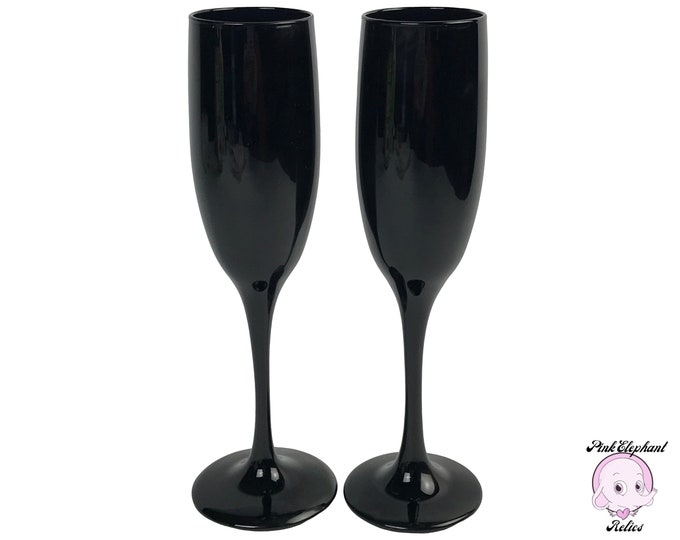 2 Striking Black Glass Champagne Flutes - Vintage Libbey Black Amethyst Tall Wine Glasses Pair- Romantic Couple's Wedding Toast Stemware Set