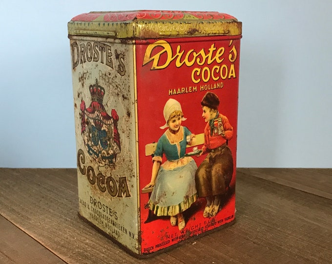 Old Rusty Droste's Cocoa Tin - Vintage Shabby Chic Red Chocolate Tin Canister - Dutch Cacao Advertising Tin Decor for Unique Kitchen Staging