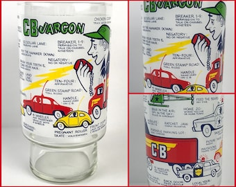 "Retro Trucker's CB Radio Drinking Glass Tumbler - Vintage ""The CB Jargon"" Glass Cup of Truck Driver Sayings - Gift for Big Rig Semi Driver"