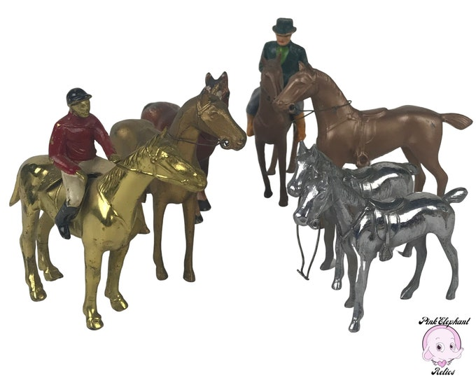 Lot of 7 Vintage Metal Miniature Horses & 2 Riders / Jockey Toys - Bronzed, Silver, Gold Plated, Painted Old Cast Metal Toy Horse Collection