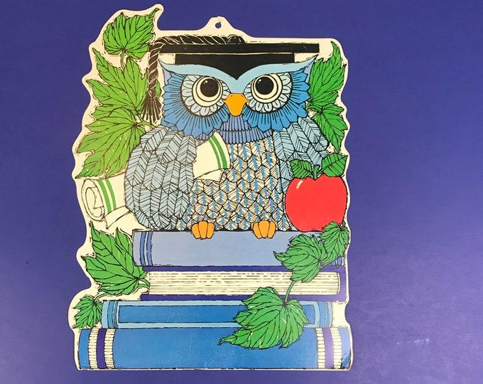 "Wise Old Owl Original Vintage 1960's 14"" Die Cut Card Paper Cutout - Retro Kitsch Blue Owls School Decor Classroom Wall Hanging & Bonus Page"