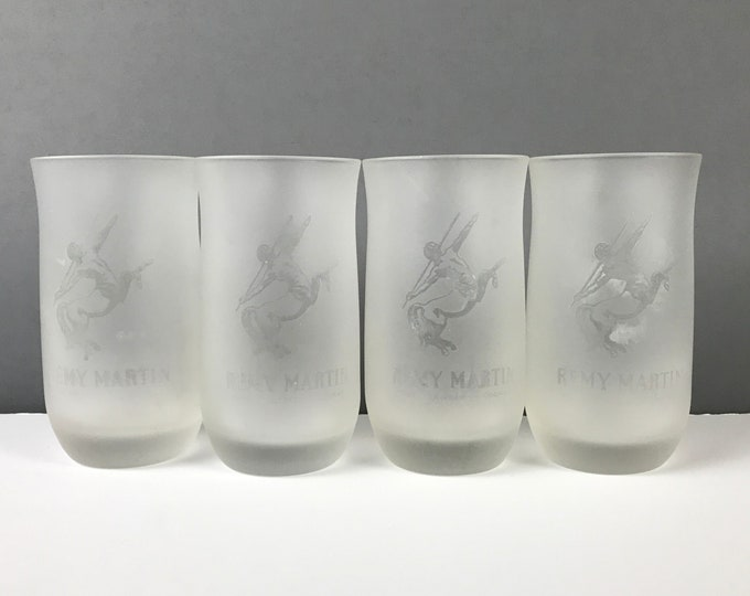 Set of 4 Frosted Remy Martin Cognac Glasses with Etched Centaur Motif - Sexy French Vintage Barware by Remy Martin Fine Champagne Cognac