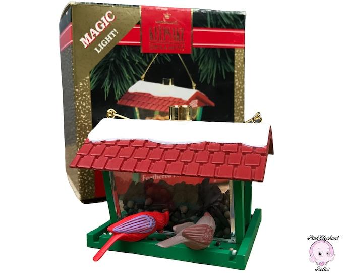 1992 Feathered Friends Hallmark Keepsake Lighted Ornament - Vintage Bird Feeder Christmas Tree Magic Light Ornament w/ Cardinals (Retired)