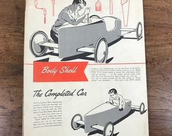 1951 Soap Box Derby Racer Building Manual Poster - Vintage Chevrolet GM Motors Kid's Racing Hanging Wall Chart - 195's Childhood Memorabilia