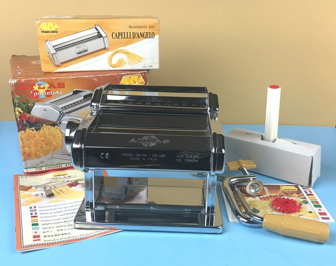 Stainless Steel Atlas OMC Marcato Pasta Machine & Angel Hair Attachments - Clamp on Crank Style Vintage Spaghetti Maker w/ Pasta Bike Roller