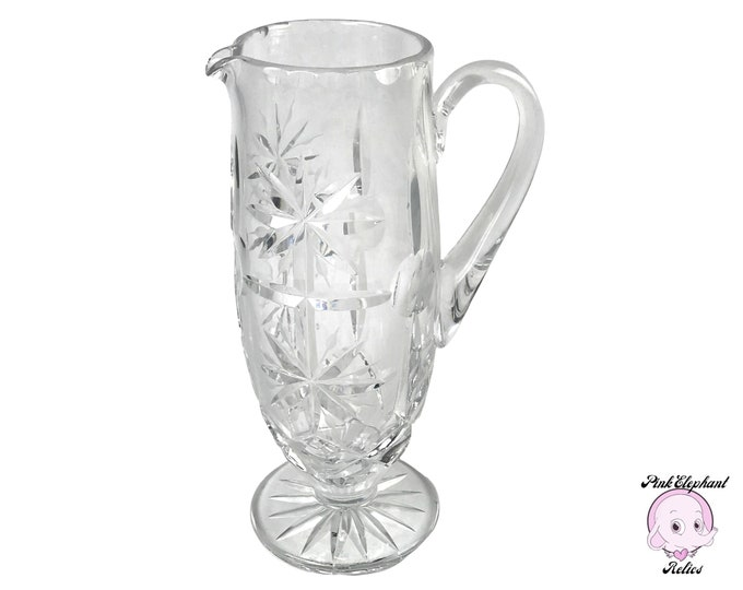 Elegant Antique Starburst and Pinwheel Cut Crystal Pitcher or Footed Water Jug - Hollywood Regency Style Martini & Fancy Cocktail Pitchers