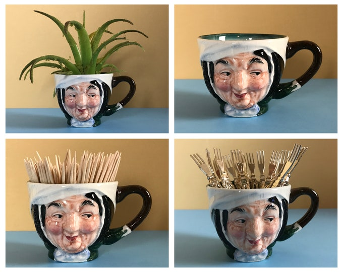 A Really Awesome Old Cup Shaped Like An Old Woman's Head - Miniature Toby Mug of Sairey Gamp or a Nun - Weird Vintage / Strange Retro Decor
