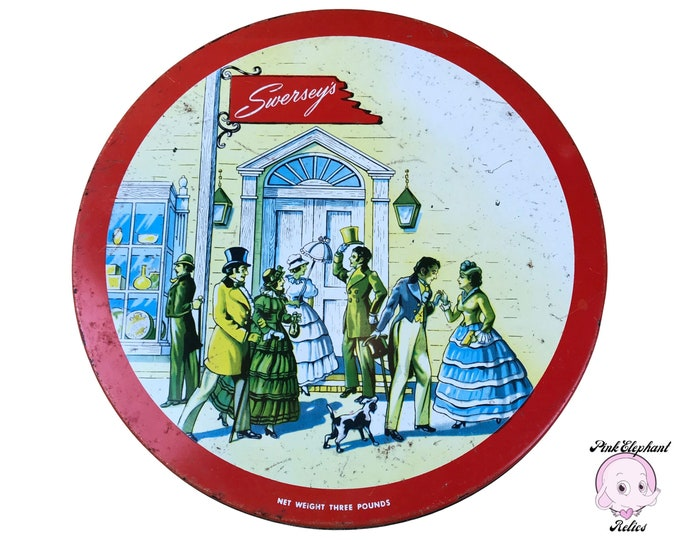 Vintage Red Swersey's Round Candy Tin - Old Metal Cookie Tin with Victorian London Street Scene - Retro Red Chippy Tin Kitchen Shelf Decor