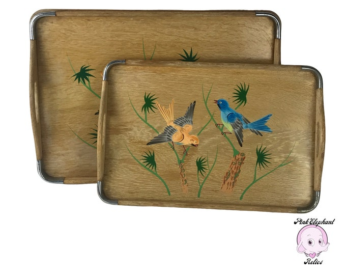 "19"" Vintage Wooden Nesting Serving Tray Set w/ Hand Painted Japanese Birds in Bamboo Field - Retro Asian Inspired Home Staging & Wall Decor"