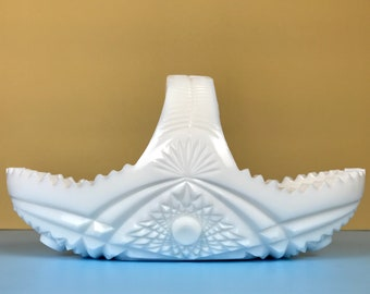 Fabulous EAPG Milk Glass Split Handle Celery Basket w/ Star Arch Martec Pattern by McKee - White MCM Starburst Christmas Centerpiece Bowl