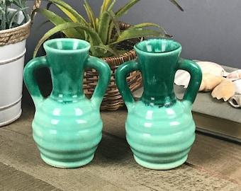 2 Vintage Pottery Mini Cruets - Miniature Jug Set - Retro Oil & Vinegar Decanters - Aqua / Teal Green Hombre Drip Glaze Candlestick Holders