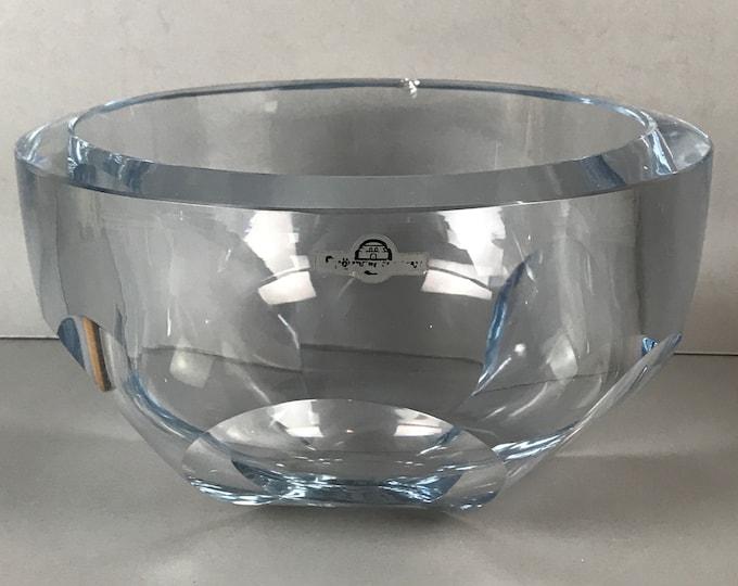 Mid Century Strombergshyttan Blue Silver Faceted Art Glass Centerpiece Bowl Signed - Large Scandinavian Modern Salad Bowl - 1950's MCM Decor