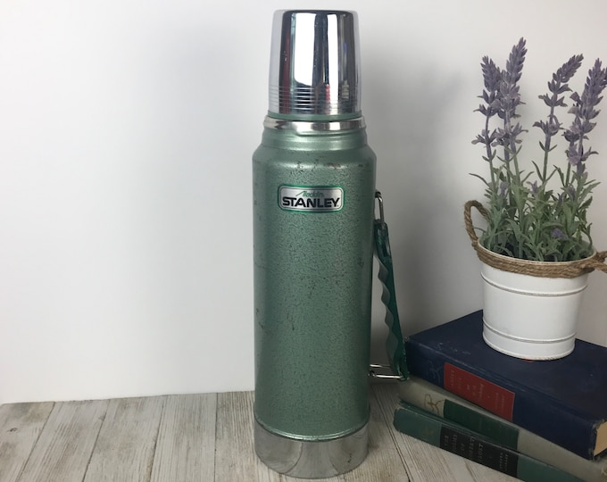 Vintage Green Stanley Steel Insulated Bottle - Big Old Metal Thermos - Retro 32 Oz. Large Heavy Duty Industrial Coffee Thermos w/ Cup & Cap
