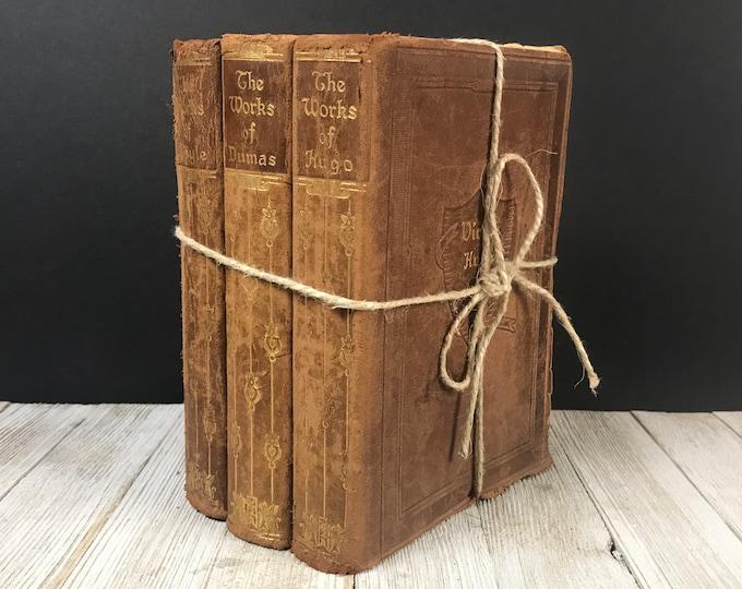 Antique Brown Book Set - 3 Distressed Old Leather Bound Books - 1920's Victor Hugo, Arthur Conan Doyle, Alexandre Dumas - Mantel Shelf Decor