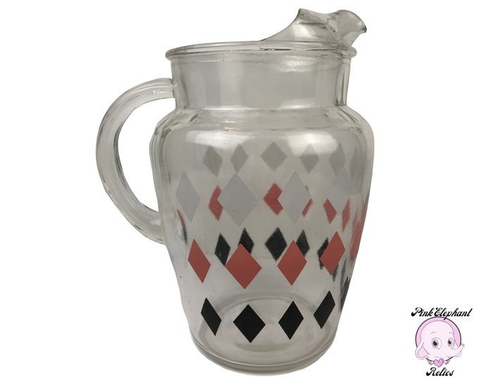 1960's Glass Pitcher w/ Retro Pink, Black & White Diamond Argyle Pattern - Vintage MCM Pitchers - Mrs. Maisel Style Kitchen Staging Props