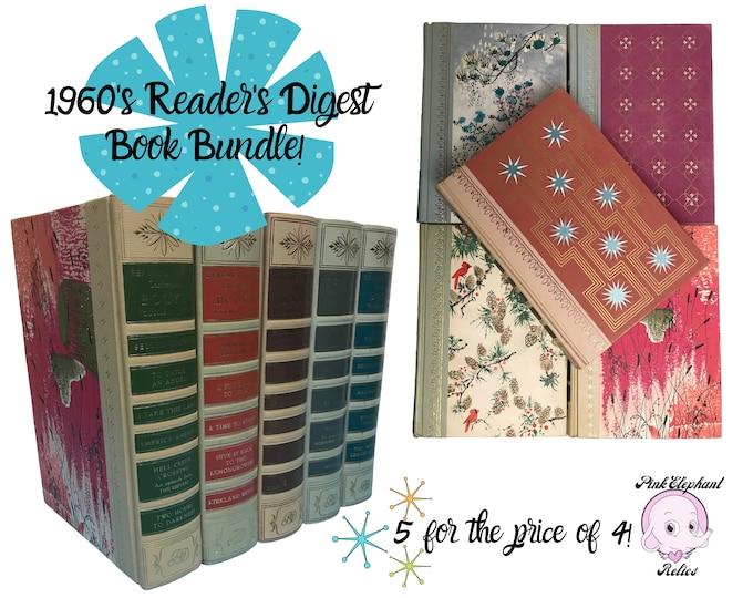 Vintage Book Stack for MCM Shelf Decorating - 5 Retro Mod Starburst, Cardinal, Floral Reader's Digest Books - 1960's Bookshelf Staging Props