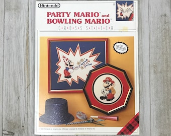 Vintage Super Mario Cross Stitch Patterns - Nintendo Licensed 1990 Party & Bowling Mario Embroidery Pattern Book - Pop Culture Needlepoint