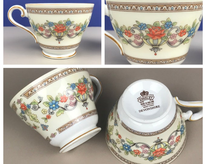 2 Aynsley Devonshire Footed Tea Cups - Fine English Bone China - Teacup Set - Ivory & Gold Floral - Tea Party Decor - Tea for 2 - England