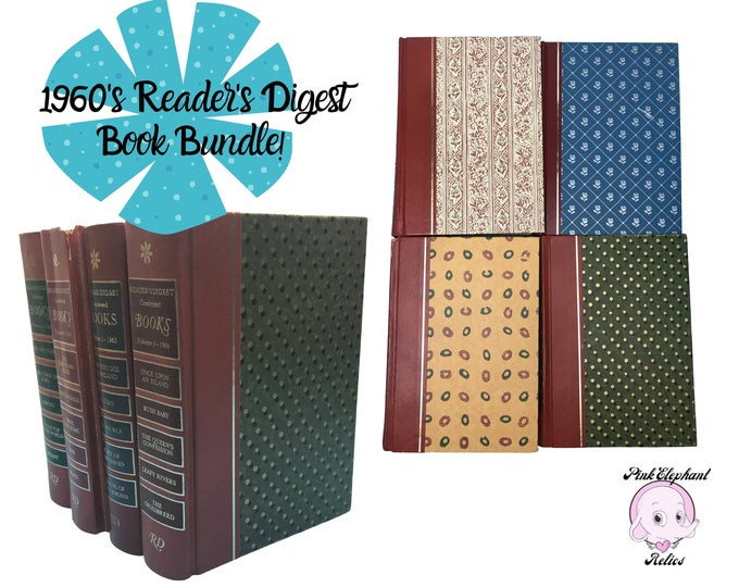 Red Book Decor for Retro Den Staging - 4 MOD Wallpaper Style Reader's Digest Hard Cover Books - 60's Night Table Book Stack - Theater Props