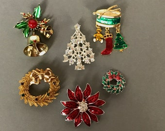 Vintage Christmas Brooch Collection - Lot of 6 Costume Jewelry Pinback Holiday Brooches - Mix of Novelty Statement Enamel & Rhinestone Pins