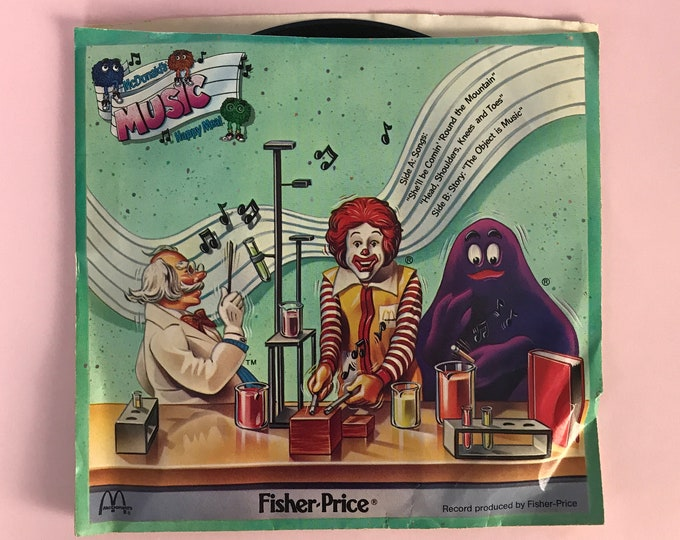 1985 Fisher Price McDonald's Happy Meal Toy 33 1/3 RPM Vinyl Record in Sleeve Sung By McDonaldland Puppets - Rare 80's Kids Music Nostalgia