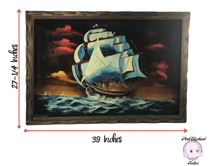 Large Vintage Clipper Ship Oil Painting on Black Velvet / Signed Original Framed Nautical Wall Hanging - XL Mid-Century Modern Statement Art