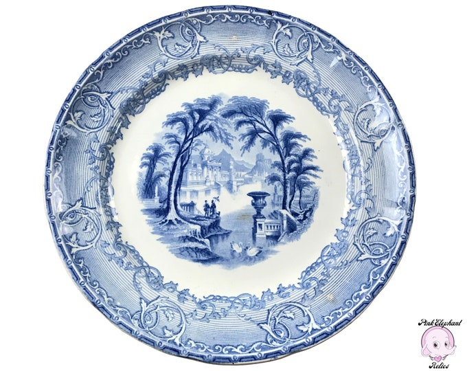 """Antique Wedgwood Venus Blue 9 3/4"""" Dinner Plate - 19th Century Blue & White English Pearl Stone Transferware Replacement Table Setting Dish"""