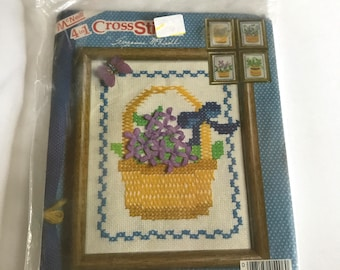 4-in-1 Floral Baskets Needlepoint Cross Stitch Kit - Vintage McNeill Flowers Embroidery Kit - Susan McNeill Design - No. 5406 - Unused / NOS