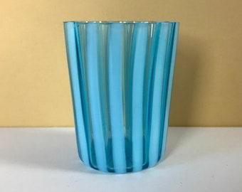 Retro MCM Cocktail Pick / Toothpick Holder - Vintage Opalescent Blue & Turquoise Striped Art Glass Cup - 1950's Mod Aqua Bar Staging Decor