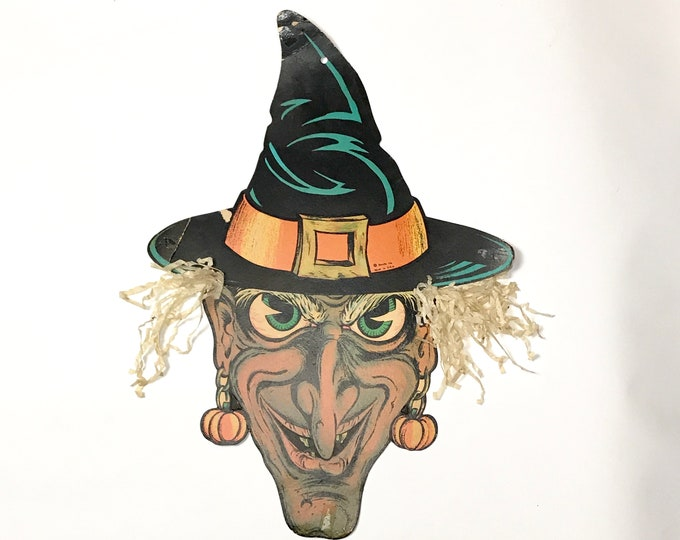 """Rare 20"""" Beistle Diecut Witch with Crepe Paper Hair in Hat - Original Vintage Halloween Die Cut Cardboard Cutout Wall Decoration Window Prop"""
