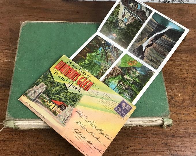 Vintage Watkins Glen New York Souvenir Fold-Out Postcard 29 View Folder - 1930's Waterfall Scenic Photos - 1940's Postmark & 3 Cent Stamp