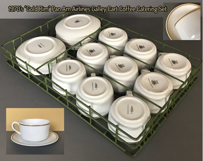 RARE Pan Am Airlines Green Metal Galley Cart Safety Rack w/ First Class Coffee or Tea Catering Service 9 Cups & Saucers in Gold Rim Pattern