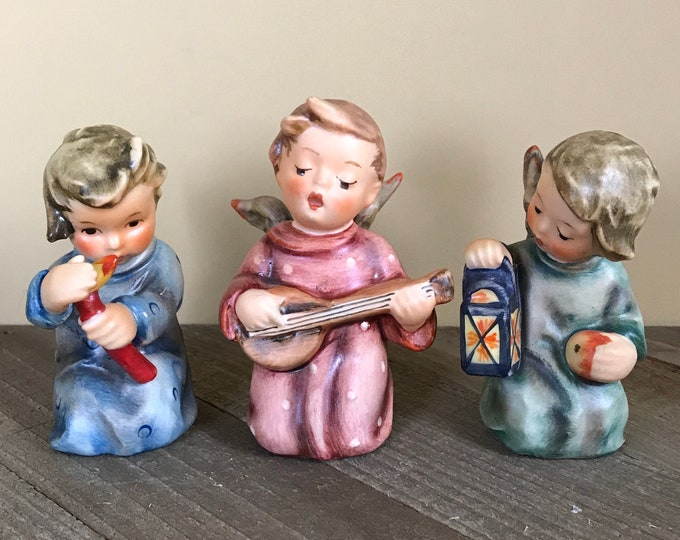 3 Kneeling Little Boy Angels by Hummel Goebel W. Germany - Vintage Guiding Light and Lantern Apple Angel 357 & 358, Angel Serenade Figurines