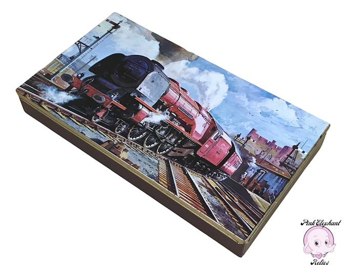 Vintage English Biscuit Tin with Fabulous Steam Engine Train Station Art - Retro Men's Glove or Dresser Box - Rare Collectible Cigarette Tin