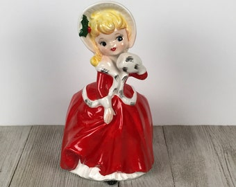 Vintage Christmas Lady Planter - 1950's Kitsch Southern Belle Caroler Girl Figurine Flower Pot - MCM Red Holiday Hosier Display Candy Dish