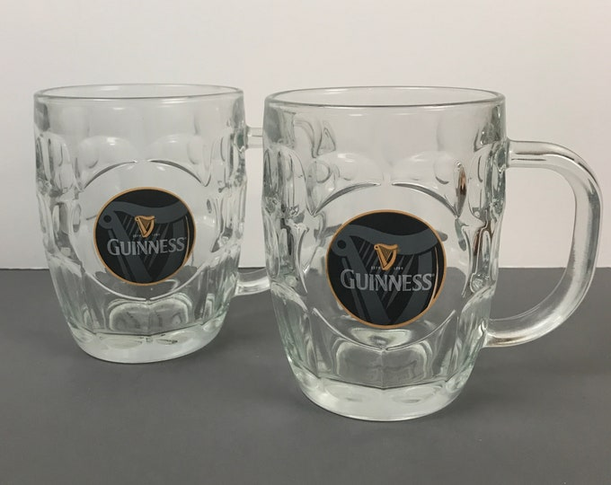 Pair of Guinness Beer Mugs with Black Harp Label & Thumbprint Dimple Glass - Pint Tankards - Irish Pub Style Bar Glasses - Man Cave Supply