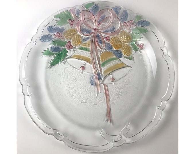 "Large 15"" Mikasa Holiday Bells Cake Platter / Holiday Serving Tray / Christmas Torte Plate with Colorized Bell, Holly, Pine Cones & Pink Bow"