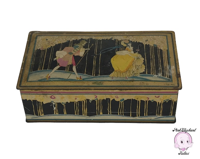 Shabby Art Nouveau Vintage Tin Candy Box - Vintage Huyler's Chocolate Tin by Canco w/ Litho of Victorian French Aristocrat Courting Couple