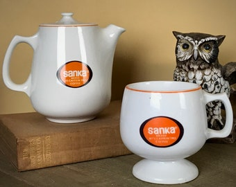 Everything You Love About Coffee! Vintage 70's Sanka Mini Coffee Pot & Pedestal Mug Set w/ Orange Decaf Logo - Retro Sanka Promotional Items