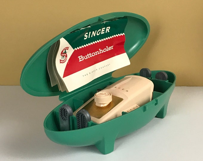 Vintage Singer Buttonholer in Awesome Turquoise Mod Style Storage Case - Atomic MCM Craft Sewing Room Decor - Button Hole Sewing Attachment