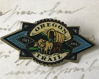 Oregon Trail Souvenir Enamel Pin - Vintage Pacific Northwest Lapel Pin - Hat Pin - Tie Pin - Flair - Traveler Gift - On Sale Free Shipping