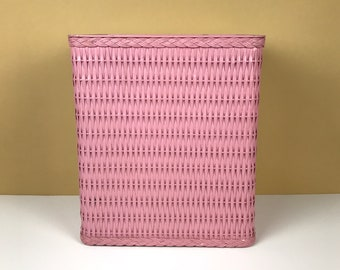 Retro Pink Wicker Wastepaper Basket or Small Laundry Hamper - Vintage Trash Bin for Bathroom or Office - Girl's Bedroom Toy Box / Storage