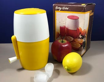 Vintage Italian Ice Shaver - Lemon Yellow Barry-Ware Kitchen Gadget - Shredder - Sno-Cones, Daquiris, Frappes - Shaved - Ice Crusher - Gift