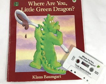 Where Are You Little Green Dragon? Children's Book & Cassette Tape Set - FIRST EDITION - 1990's Troll Assoc. Cassettes - By Klaus Baumgart -