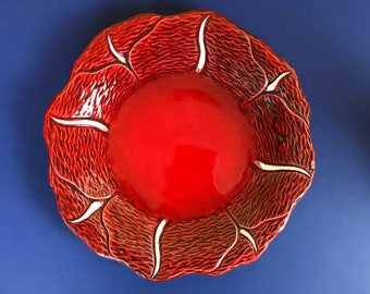 Funky Retro Red Poppy Floral Relief Plate by California Pottery, USA - 60's Vintage Eclectic Boho Serving Dish - MCM Bungalow Table Staging